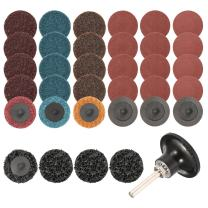 INSMA 35Pcs Sanding Discs Set 2 inch Quick Change Discs Surface Conditioning Discs with 1/4 inch Tray Holder for Surface Prep Strip Grind Polish Finish Burr Rust Paint Removal