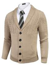 COOFANDY Men's Cardigan Sweater Shawl Collar Slim Fit Cable Knit Cardigan Sweaters