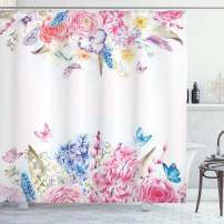 """Ambesonne Shabby Flora Shower Curtain, Romantic Garden Roses and Daisy Flowers Leaves Print, Cloth Fabric Bathroom Decor Set with Hooks, 75"""" Long, Pink Purple"""