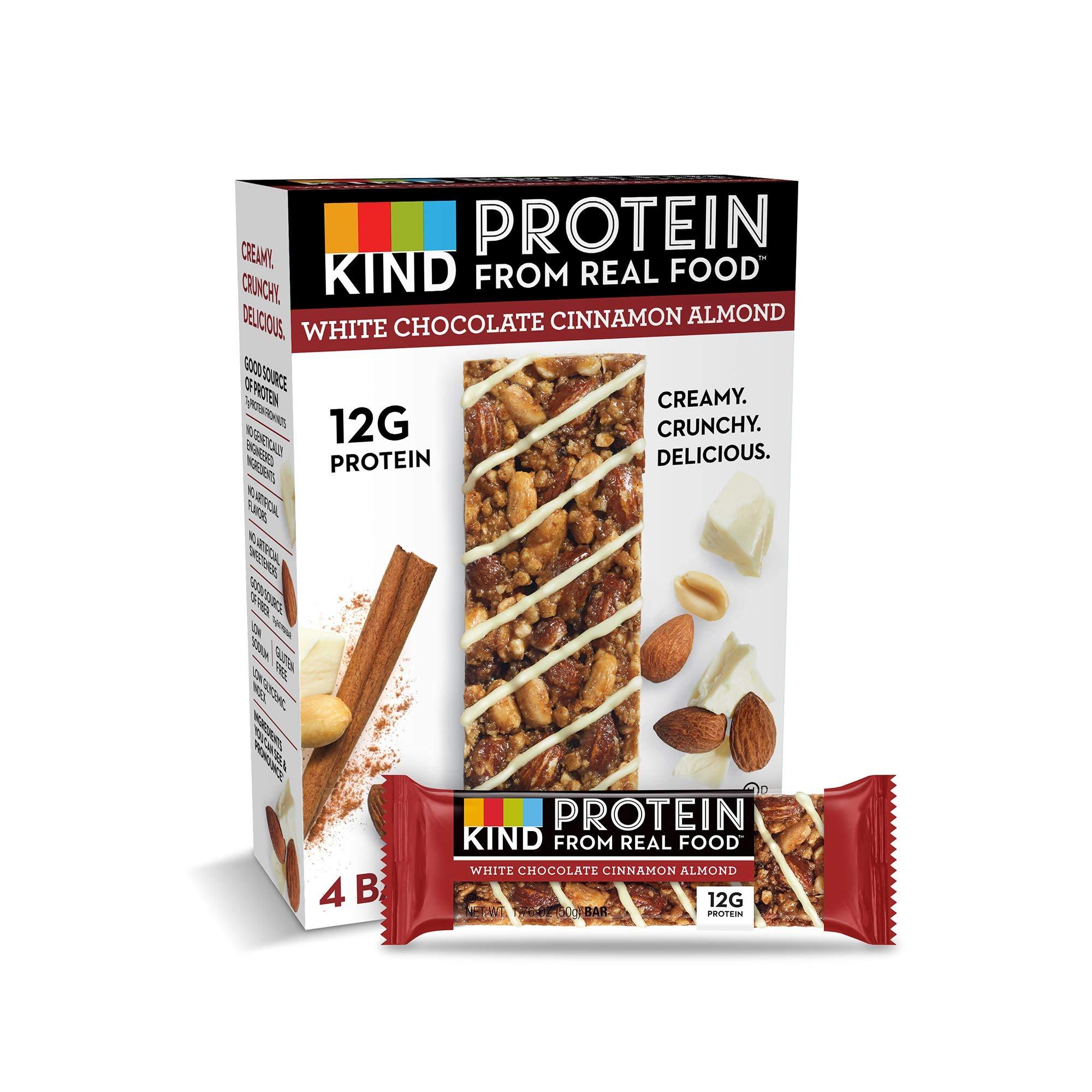 KIND Protein Bars, White Chocolate Cinnamon Almond, Gluten Free, 12g Protein,1.76oz, 24 count