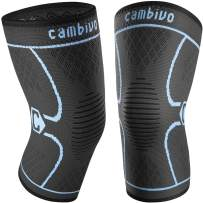 CAMBIVO 2 Pack Knee Brace, Knee Compression Sleeve Support for Men and Women, Running, Working out, Gym, Hiking, Sports