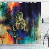 """Ambesonne Tribal Shower Curtain, Grungy Futuristic Design of Foreman Bull with Motley Effect, Cloth Fabric Bathroom Decor Set with Hooks, 70"""" Long, Navy Green"""