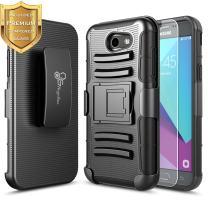Galaxy J3 Prime Case, J3 Luna Pro/J3 Emerge/J3 Eclipse/J3 Mission/J3 2017/Sol 2/Amp Prime 2/Express Prime 2 w/[Tempered Glass Screen Protector], NageBee Belt Clip Holster Shockproof Case -Black