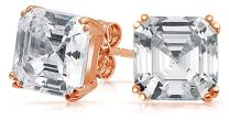 Cubic Zirconia Solitaire Square AAA CZ Asscher Cut Stud Earrings For Women Rose Gold Plated Sterling Silver 6 7 8 9 10MM