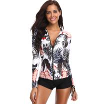 Caracilia Women Zip Front Long Sleeve Rashguard Swimsuit Top Shirt F06-XXL 100