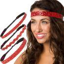 Hipsy Women's Adjustable NO SLIP Bling Glitter Headband Mixed Pack (Red 3pk)