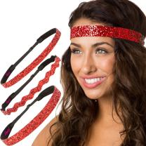 Hipsy Women's Adjustable NO SLIP Bling Glitter Headband Mixed Pack (Red 3pk)