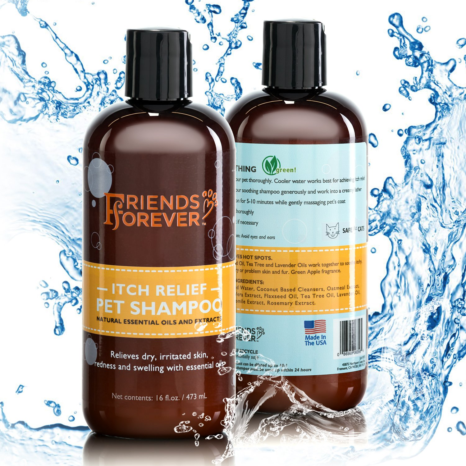 Friends Forever Natural Dog Shampoo Best Moisturizing Formula for Smelly Dogs, Shedding & Sensitive Dry Itchy Skin Hypoallergenic Soothing Coconut Base Conditioner Organic Oatmeal, Aloe, Lavender Oil