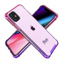 BAISRKE iPhone 11 Case, Slim Shock Absorption Protective Cases Soft TPU Bumper & Hard Plastic Back Cover for iPhone 11 6.1 inch [2019] - Pink Purple Gradient