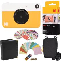 Kodak Printomatic Instant Camera (Yellow) Gift Bundle + Zink Paper (20 Sheets) + Case + 100 Sticker Border Frames + Hanging Frames + Album (AMZKODPOK1Y)