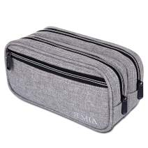 JEMIA Multi Compartments Collection 3 Independent Zipper Compartments Pencil Case (Gray, Polyester)