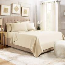 6 Piece Cal King Sheets - Bed Sheets Cal King Size – Bed Sheet Set Cal King Size - 6 PC Sheets - Deep Pocket Cal King Sheets Microfiber Bedding Sets Hypoallergenic Sheets - Cal King - Beige Cream