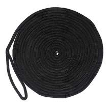 """Docking Lines Double Braided Nylon Black Docking Lines 5/8 Inch 25 FT, 50 FT Mooring Rope with 12"""" Eyelet Anchor Line Boat Accessories"""