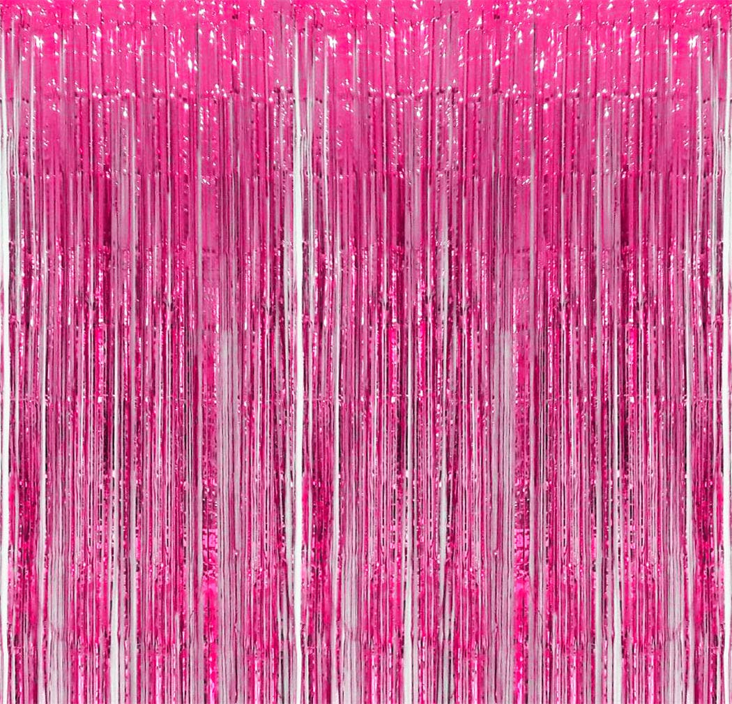 Pink Foil Fringe Backdrop - Pack of 2   Shiny Metallic Tinsel Foil Curtain   Ideal for Bridal Shower, Wedding, Birthday, Christmas, New Year   Door Windows Wall Decoration