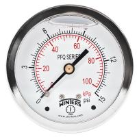 """Winters PFQ Series Stainless Steel 304 Dual Scale Liquid Filled Pressure Gauge with Brass Internals, 0-15 psi/kpa,2-1/2"""" Dial Display, +/-1.5% Accuracy, 1/4"""" NPT Center Back Mount"""
