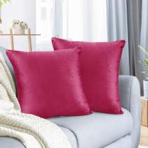 "Nestl Bedding Throw Pillow Cover 18"" x 18"" Soft Square Decorative Throw Pillow Covers Cozy Velvet Cushion Case for Sofa Couch Bedroom, Set of 2, Hot Pink"