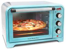 "Americana Elite ERO-2600R Vintage Diner 50's Retro 12"" Pizza Countertop Toaster oven, Bake, Broil, Toast, Temperature Control & Adjustable Timer, 6 Slice, Blue"