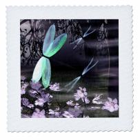 3dRose qs_47986_2 Dragonflies with Glowing Wings Quilt Square, 6 by 6-Inch