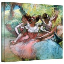 Art Wall 'Four Ballerinas on The Stage' Gallery Wrapped Canvas Artwork by Edgar Degas, 14 by 18-Inch