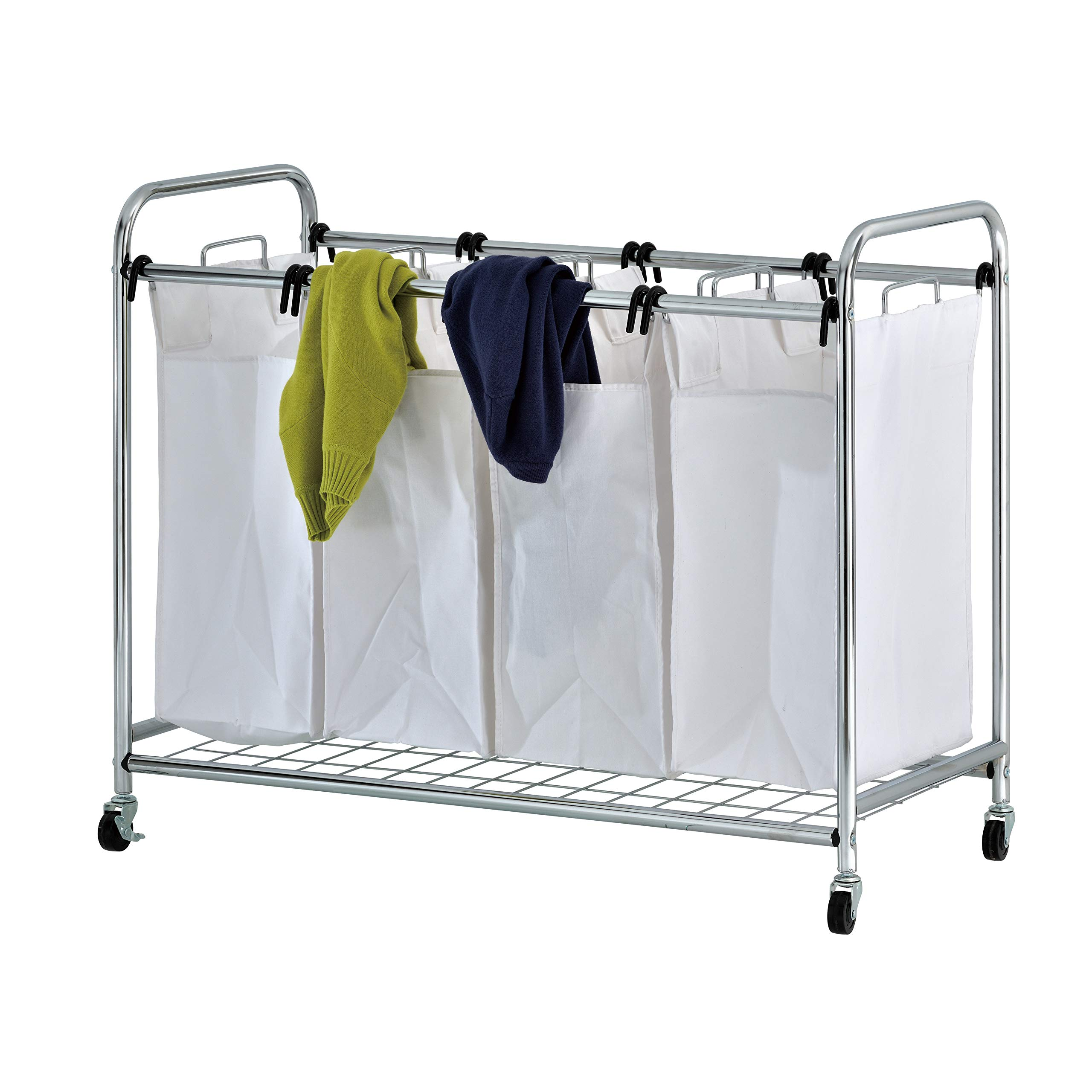ikloo Portable 4-Bag Heavy Duty Laundry Sorter Cart with Reusable Sorting Bins, Sturdy Tensile Laundry Bin Frame, Portable Commercial Grade 4-Caster Wheels with Anti-Rust Chrome Coated Steel