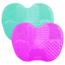 2-Pack Brush Cleaning Mats, Easkep Makeup Brush Cleaner Pad Portable Washing Tool Scrubber with Suction Cup Set of 2 Cosmetic Silicone (Green+Purple)