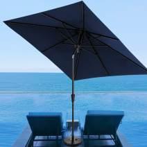 SERWALL Square 8x8ft Patio Umbrella, Market Table Umbrella with Push Button Tilt Outdoor Umbrella with 8 Ribs for Lawn, Garden, Deck, Backyard & Pool (Navy)