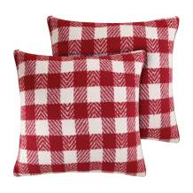 Deconovo Decorative Red Pillow Covers Scottish Tartan Plaid Pillow Cases Throw Pillow Covers for Holiday 18x18 Inch Red and White 2 PCS