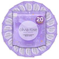 Olivia Rose 20 Wipes Cleansing Makeup Brush Wipes, 20 Count Individually Wrapped Quick & Convenient Makeup Brush Cleaner Wipes