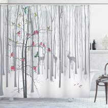 """Ambesonne Nature Shower Curtain, Winter Animals Colorful Group of Birds Sitting on Tree Forest Design with Reindeers, Cloth Fabric Bathroom Decor Set with Hooks, 84"""" Long Extra, White and Grey"""