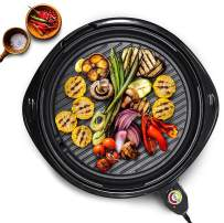 "Maxi-Matic Indoor Electric Nonstick Grill Adjustable Thermostat, Dishwasher Safe, Faster Heat Up, Low-Fat Meals, Easy To Clean Design, Includes Glass Lid, 14"" Round"