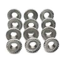FullerKreg (50 Pcs) M6 x 1mm Serrated Hex Flange Nut, 18-8 Stainless Steel, Bright Finish