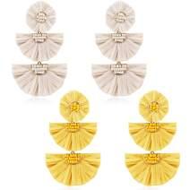 LOYALLOOK Statement Bohemian Handmade Drop Dangle Earrings Beaded Raffia Palm Fan Earrings for Women Tiered Earrings
