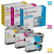 LD Compatible Ink Cartridge Replacement for Brother LC203 High Yield (Cyan, Magenta, Yellow, 3-Pack)