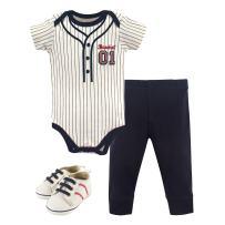 Little Treasure Unisex Baby Cotton Bodysuit, Pant and Shoe Set