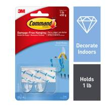 Command Small Hooks, Clear, 2-Hook, 6-Pack