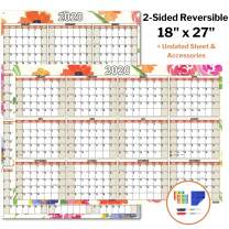 18x27 Erasable Wall Planner (Undated), Includes Bonus 2020 Wall Calendar (Floral), 1 Reversible Undated Monthly Weekly Planner, 1 Reversible 2020 Wall Calendar, Laminated Dry Erase Poster Calendar