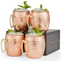 VonShef Moscow Mule Copper Mugs Set of 4 Hammered Effect Barrel Style 16oz Glasses With Gift Box