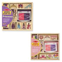 Melissa & Doug Wooden Stamps, Set of 2 - Princess and Friendship, With 18 Stamps, 10 Colored Pencils, and 2 Stamp Pads