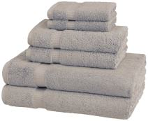 Pinzon Organic Cotton Bathroom Towels, 6 Piece Set, Marble Grey