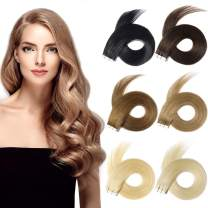 Yamel Tape In Hair Extensions Human Hair Natural Black Hair Extensions 14 Inch 20pcs Tape In Human Hair Extensions