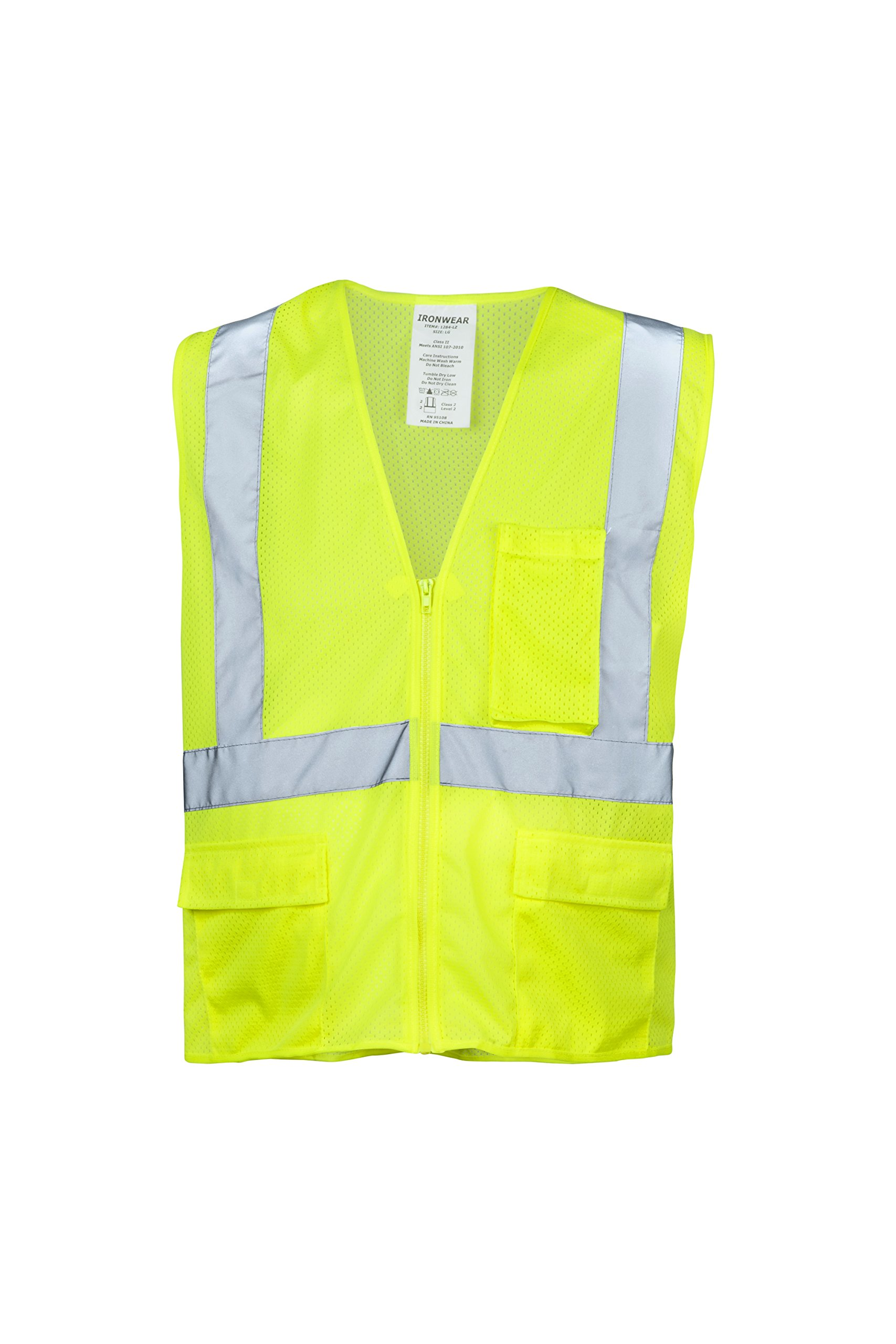 """Ironwear 1284-LZ-2-M ANSI Class 2 Polyester Mesh SAFETY Vest with Zipper & 2"""" Silver Reflective Tape, Lime, Medium"""