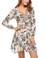 Zeagoo Women's Casual Flare Floral Long Sleeve Lace-Up Mini Dress