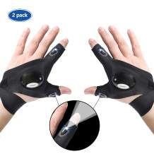 ETCBUYS LED Flashlight Glove - Work Gloves with Lights Fingerless Glove with LED Lights for Mechanics, Electrical Work, Fishing, and Low Light Work