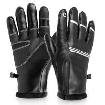 Hikenture Winter Cycling Gloves, Pu Leather Gloves for Men&Women, Waterproof Warm Running Gloves, Anti-Slip Touch Screen Gloves, Windproof Outdoor Thermal Gloves for Driving, Cycling, Hiking(Black)