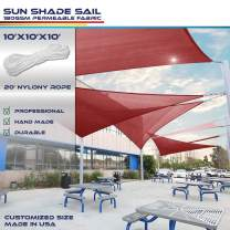Windscreen4less 10' x 10' x 10' Triangle Sun Shade Sail - Bright Red Durable UV Shelter Canopy for Patio Outdoor Backyard - Custom