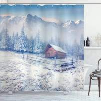 """Ambesonne Winter Shower Curtain, Old Farmhouse in Snow Mountains and Frosted Forest Rustic Life Photography, Cloth Fabric Bathroom Decor Set with Hooks, 75"""" Long, Caramel White"""