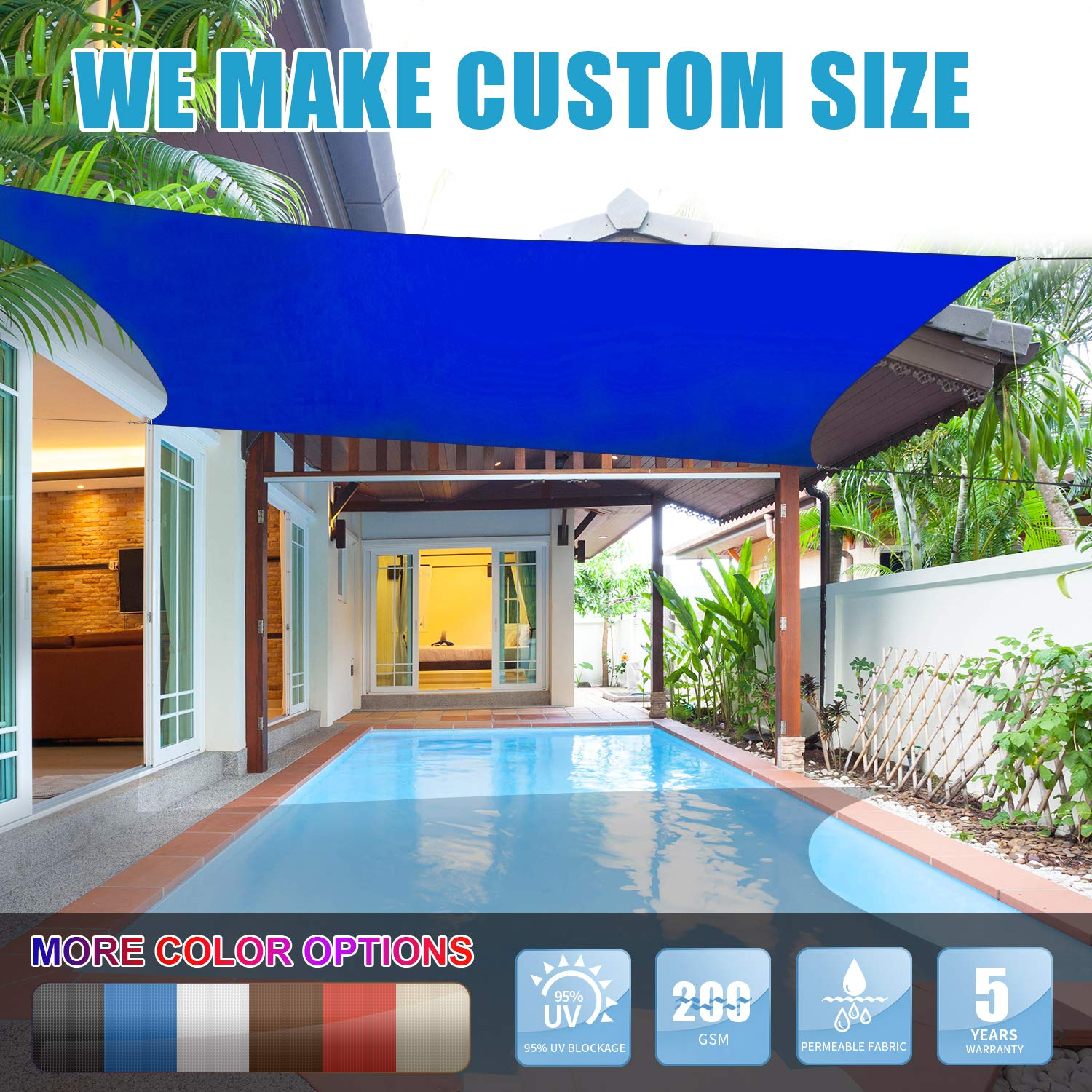 Amgo 12' x 16' Blue Rectangle Sun Shade Sail Canopy Awning, 95% UV Blockage, Water & Air Permeable, Commercial and Residential, for Patio Yard Pergola, 5 Years Warranty (Available for Custom Sizes)