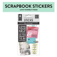 Me & My Big Ideas Pocket Pages Stickers - The Happy Planner Scrapbooking Supplies - Love Yourself Theme - Multi-Color - Perfect for Scrapbooking & Paper Crafts - 6 Sheets, 49 Stickers Total