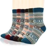 Warm Wool Socks, Homga 6 Packs Mens Womens Warm Socks Thick Knit Vintage Socks