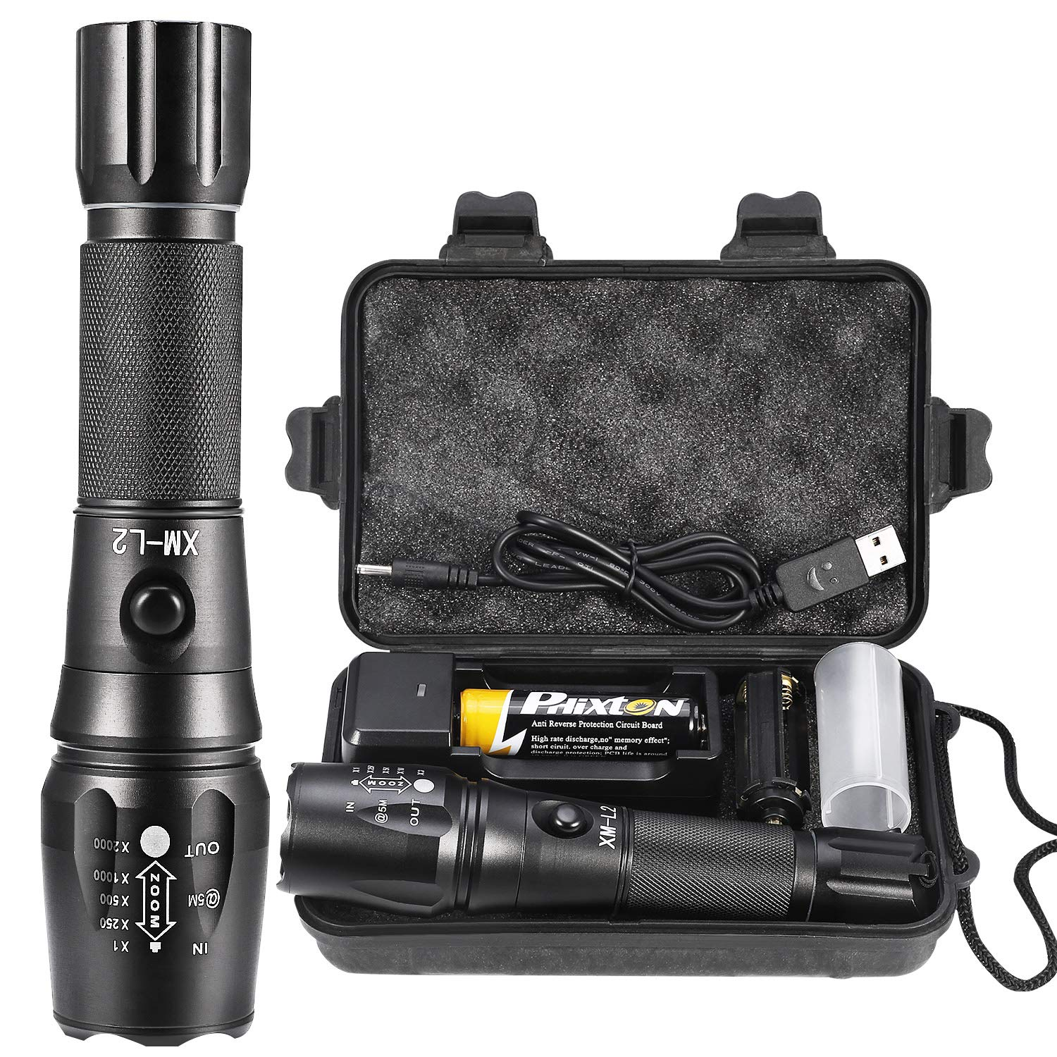 Rechargeable Tactical Flashlight High Lumens LED Torch Powerful Handheld Big L2 Water Resistant Adjustable 5 Modes Portable Metal Flash Light 5000mAh 18650 Battery Charger USB Cable Gift Box Included